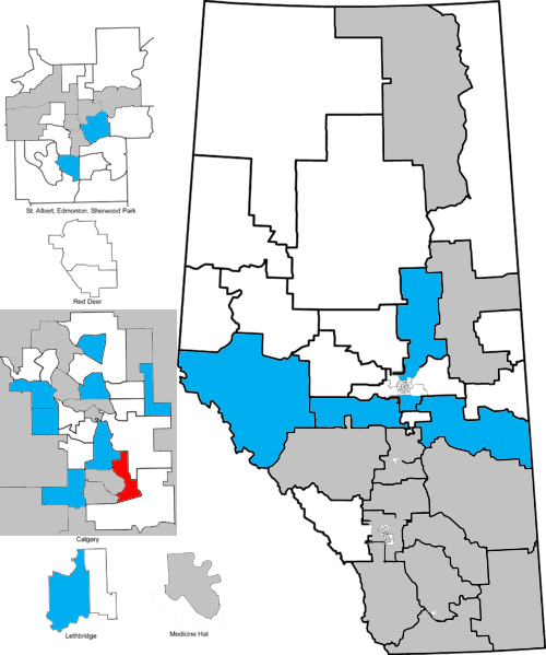 MLA endorsements in the 2014 Alberta PC leadership race. Blue: Jim Prentice; Red: Ric McIver; White: No endorsement; Grey: Opposition-held riding