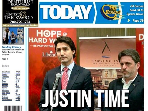 Justin Trudeau and Kyle Harrietha on the front page of Fort McMurray Today.