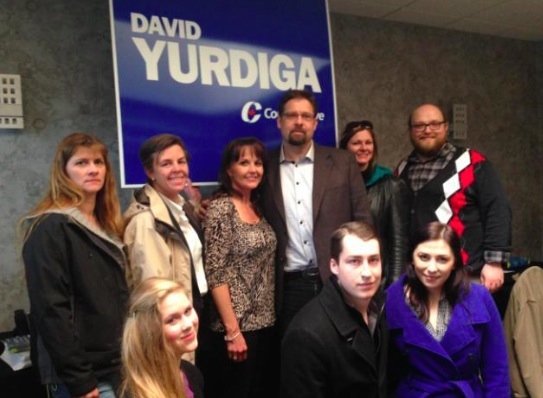 Federal cabinet minister Kellie Leitch campaigned with Conservative candidate David Yurdiga in Fort McMurray this week.