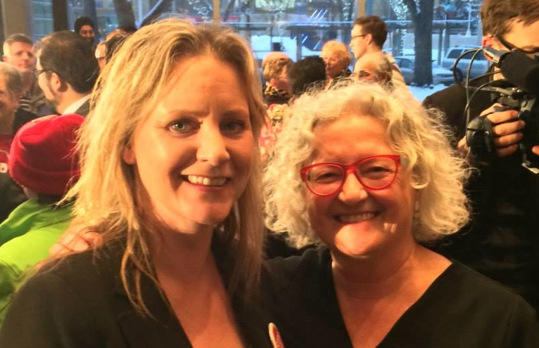 NDP candidate Lori McDaniel with Edmonton-Strathcona NDP MP Linda Duncan (Photo from Lori McDaniel's Facebook Page).