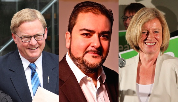 Alberta NDP leadership candidates David Eggen, Rod Loyola and Rachel Notley.