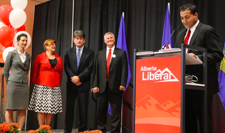 Raj Sherman (right) accepts the Alberta Liberal Party leadership in 2011. To the left: Leadership chairperson Josipa Petrunic, MLA Laurie Blakeman, MLA Hugh MacDonald and candidate Bruce Payne.