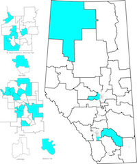 Map of nominated and acclaimed Alberta Party candidates (as of March 11, 2015).