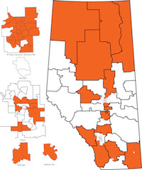 Map of nominated and acclaimed NDP candidates (as of March 11, 2015).