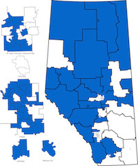 Map of nominated and acclaimed PC candidates (as of March 11, 2015).