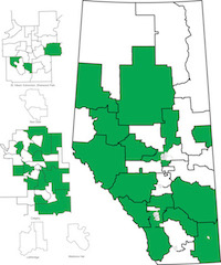 Map of nominated and acclaimed Wildrose candidates (as of March 11, 2015).