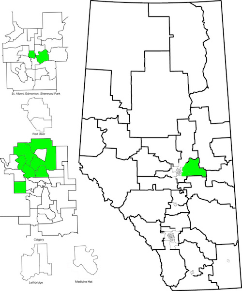 Map of nominated and acclaimed Green Party candidates (as of March 23, 2015).
