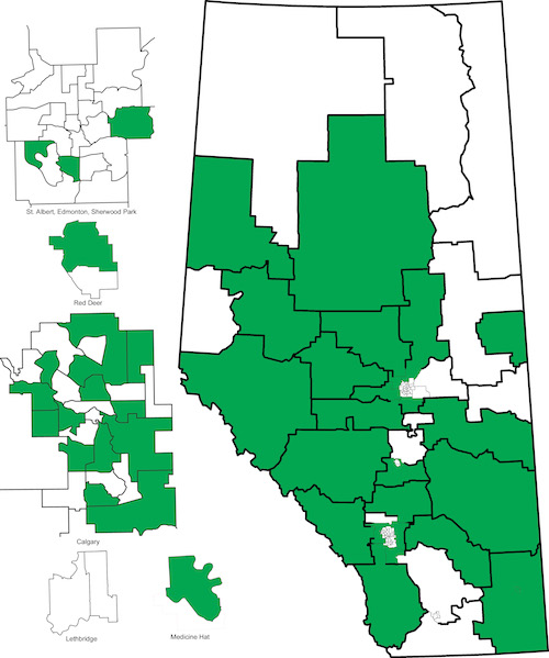 Map of nominated and acclaimed Wildrose candidates (as of March 23, 2015).