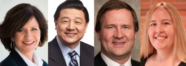 Alberta Election candidates: Shelley Wark-Martyn (Liberal Calgary-Currie), David Xiao (PC Edmonton-McClung), Glenn van Dijken (Wildrose Barrhead-Morinville-Westlock), and Christina Gray (NDP Edmonton-Mill Woods).