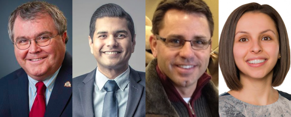 Red Deer-North Liberal and Green candidate Michael Dawe, disqualified Chestermere-Rockyview PC candidate Jamie Lall, acclaimed Chestermere-Rockyview PC candidate Bruce McAllister, and Fort McMurray-Conklin NDP candidate Ariana Mancini.