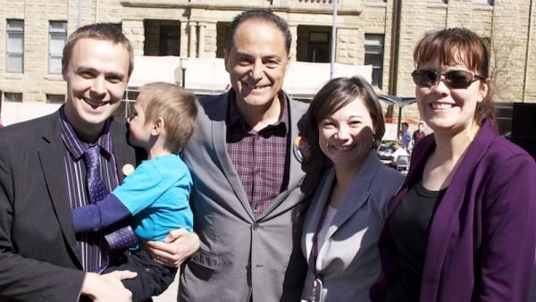 NDP MLA Graham Sucha (left) with MLAs Joe Ceci, Shannon Phillips and Kathleen Ganley.