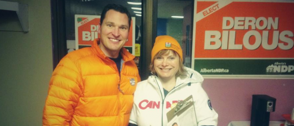 NDP MLA Deron Bilous and Edmonton Public School Trustee Michelle Draper on the campaign trail.