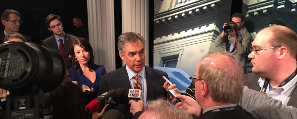 PC leader Jim Prentice in a post-leader's debate media scrum at Global Edmonton studios.
