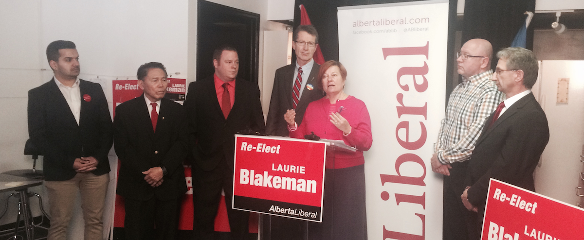 Liberal MLA Laurie Blakeman, interim leader David Swann and Edmonton Liberal candidates unveil the party's pay equity proposal.