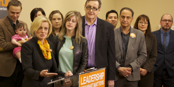 NDP leader Rachel Notley, surrounded by her party's Calgary candidates in the 2015 election.