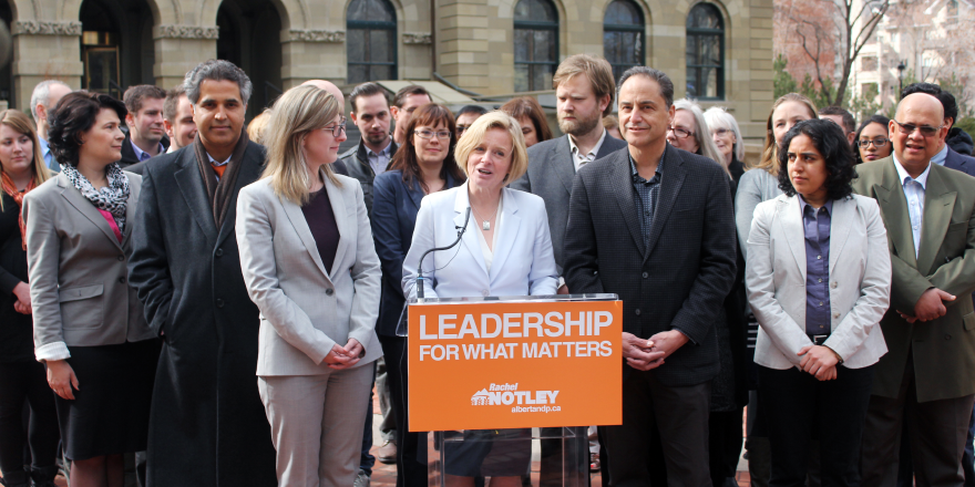NDP leader Rachel Notley with Calgary candidates on April 8, 2015.