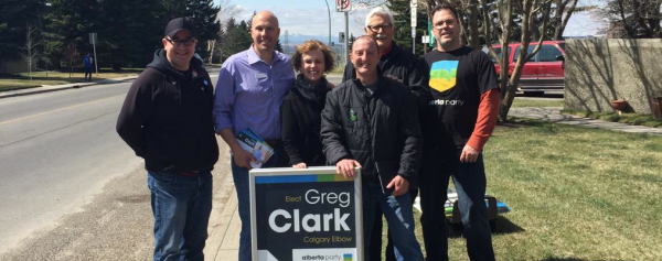 Alberta Party leader Greg Clark with supporters in Calgary-Elbow.