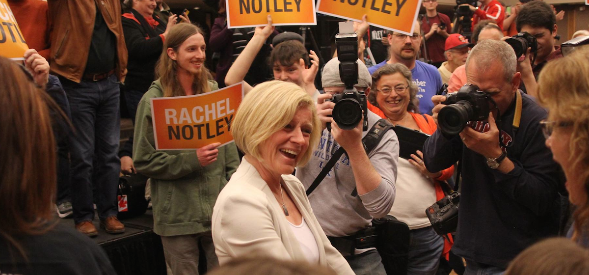 A rally held in the Calgary-Varisty constituency for NDP leader Rachel Notley attracted hundreds of Calgarians on May 2, 2015.