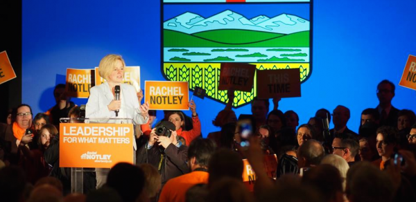 NDP leader Rachel Notley speaks to a crowd of more than 2,000 Albertans at a May 4 election rally in Edmonton.