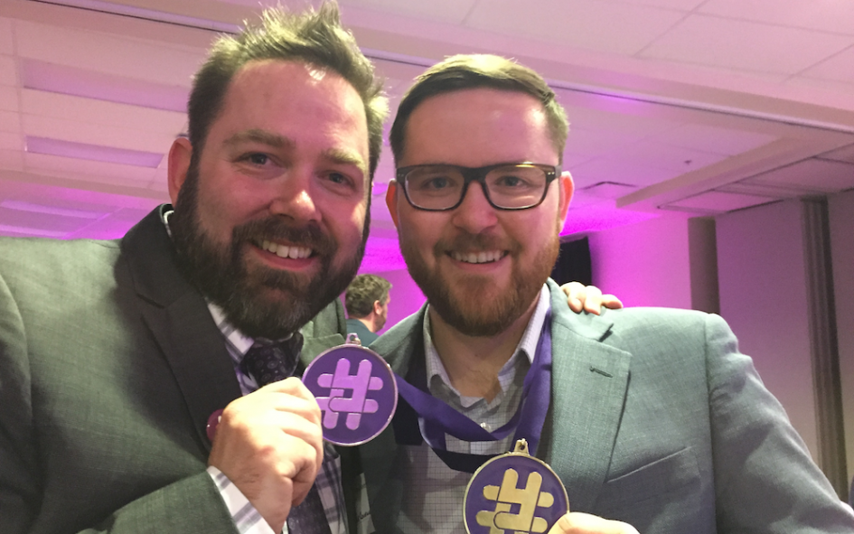Celebrating last night's Yeggies with my friend and yeggies co-founder Adam Rozenhart.