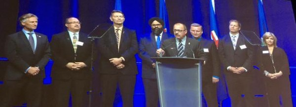 Interim PC Party leader Ric McIver and 7 of his party's MLAs at their post-election leader's dinner.