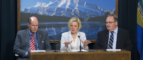 Premier Rachel Notley (centre) and Infrastructure Minister Brian Mason (right) announce that former Bank of Canada Governor David Dodge (left) will advise the new government. (Photo Credit to premierofalberta on Flickr)