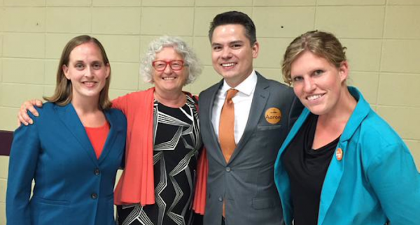 Nominated Edmonton NDP candidates Heather Mackenzie (Edmonton-West), Linda Duncan (Edmonton-Strathcona), Aaron Paquette (Edmonton-Manning) and Janis Irwin (Edmonton-Griesbach).