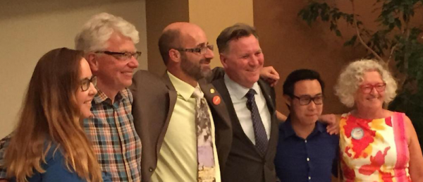 NDP candidate Brian Fleck (centre) with NDP MLAs Christina Gray, Bob Turner, Richard Feehan, Thomas Dang and Edmonton-Strathcona MP Linda Duncan at the Edmonton-Riverbend NDP nomination meeting.