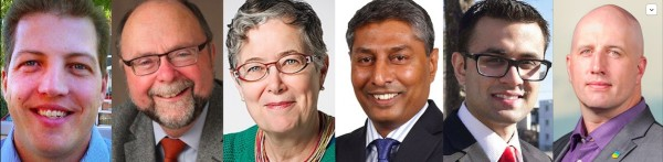 Calgary-Foothills by-election candidates Blair Houston (PC), Bob Hawkesworth (NDP), Janet Keeping (Green), Prasad Panda (Wildrose), Ali Bin Zahid (Liberal) and Mark Taylor (Alberta Party).