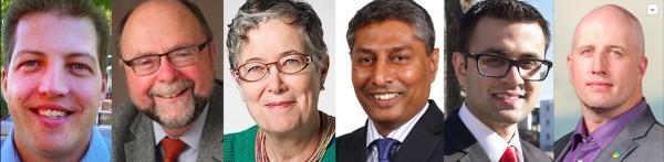 Calgary-Foothills by-election candidates Blair Houston (PC), Bob Hawkesworth (NDP), Janet Keeping (Green), Prasad Panda (Wildrose), Ali Bin Zahid (Liberal) and Mark Taylor (Alberta Party).
