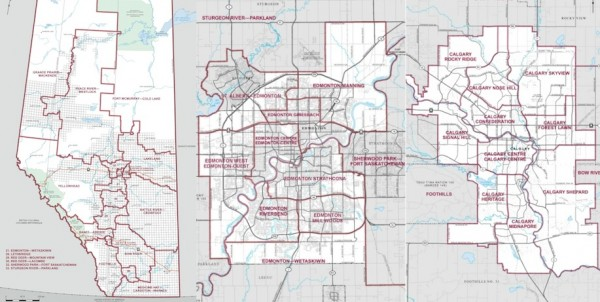 Maps of the new federal ridings in Alberta, Edmonton and Calgary.
