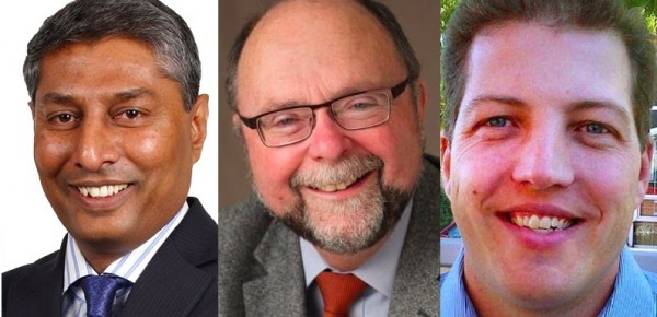 Calgary-Foothils by-election candidates Prasad Panda (Wildrose), Bob Hawkesworth (NDP) and Blair Houston (PC).