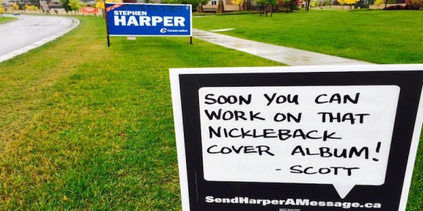 A sign in Calgary-Heritage, as part of NDP candidate Matt Masters' sendharperamessage.ca campaign.