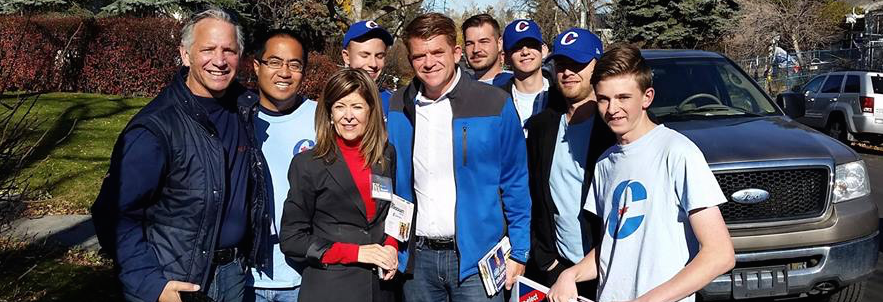 Wildrose leader Brian Jean campaigns for Conservative Joan Crockatt in Calgary-Centre.