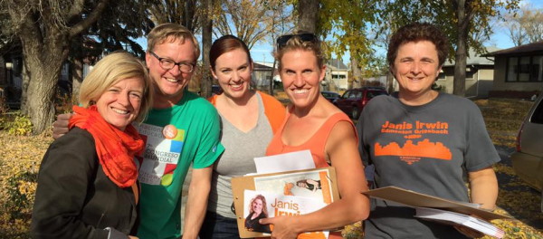 Alberta Premier Rachel Notley (right) and Education Minister David Eggen (second right) campaign with NDP candidate Janis Irwin (second from the left) in the Edmonton-Griesbach riding.