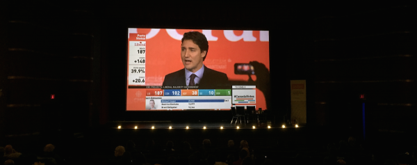 More than 300 people packed into the Metro Cinema at the Garneau Theatre to watch the election night results on a 30 foot screen.