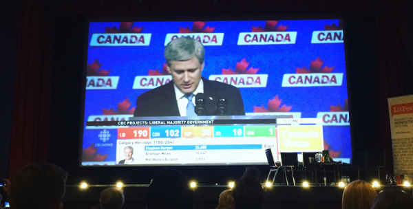 Conservative leader Stephen Harper delivers his concession speech.