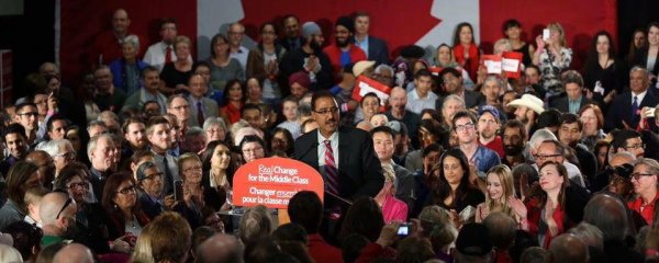 City Councillor Amarjeet Sohi speaks at a rally during the 2015 federal election.