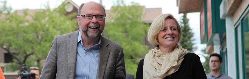 Bob Hawkesworth with Premier Rachel Notley during the by-election in Calgary-Foothills.