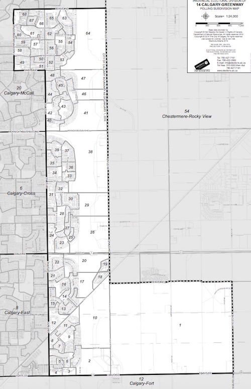 A map of the Calgary-Greenway constituency.