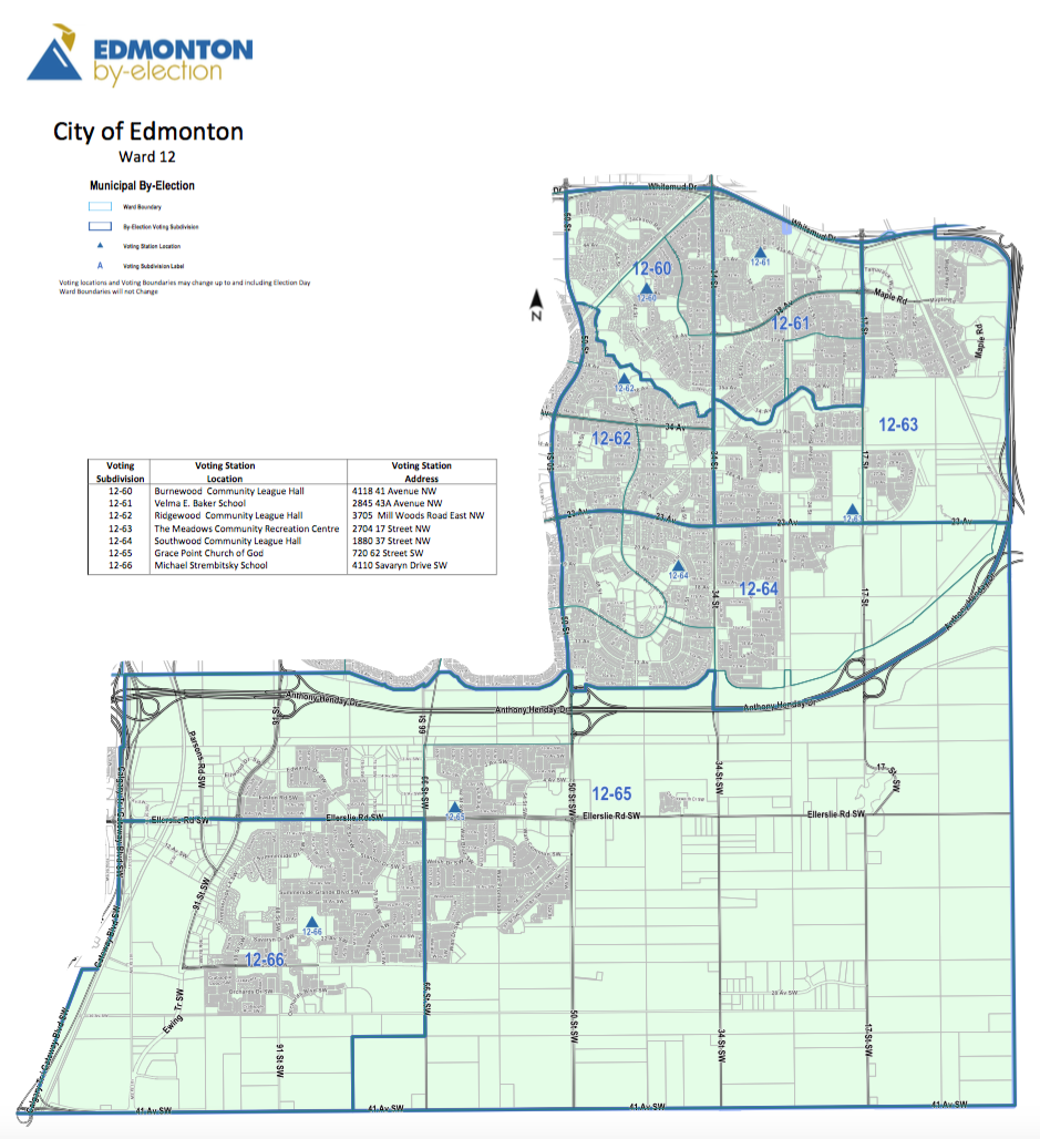 A map of Edmonton's Ward 12.