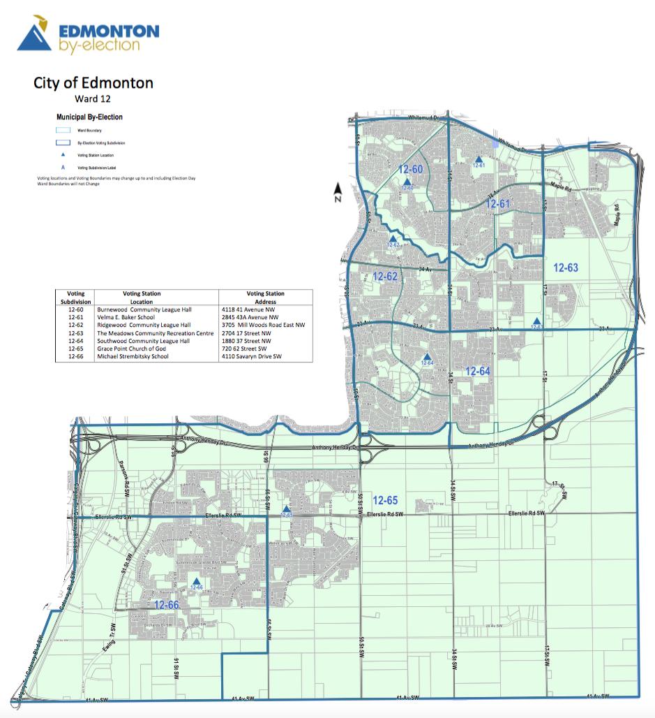 A map of Edmonton's Ward 12.