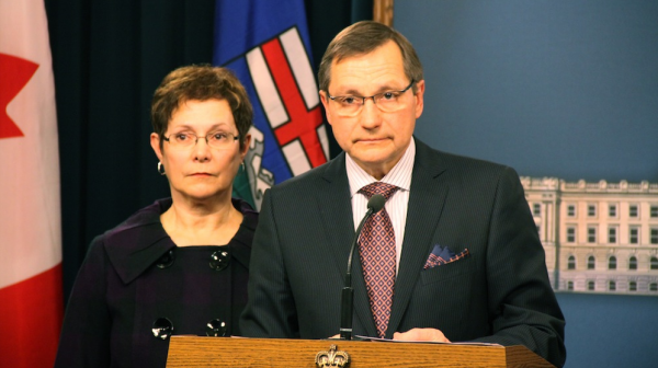 Premier Ed Stelmach and his wife Marie at the press conference where he announced his resignation.