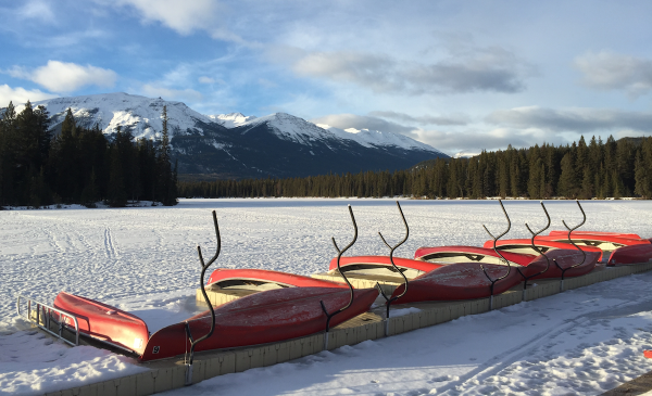 Beautiful Lac Beauvert near Jasper Park Lodge in Jasper National Park on January 23, 2016.