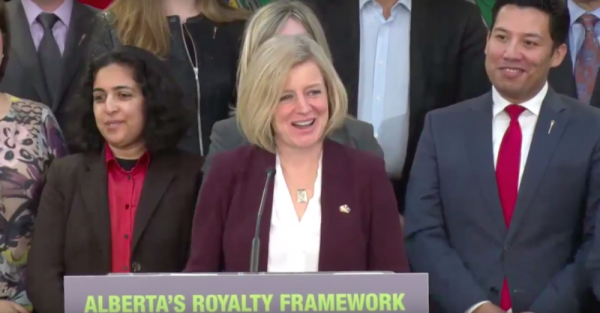 Alberta Premier Rachel Notley announces the government's plans to not increase royalty rates.