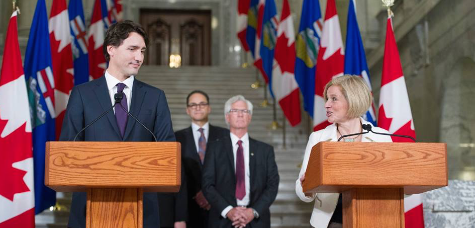 Prime Minister Justin Trudeau and Premier Rachel Notley at the Alberta Legislature on Feb. 3, 2016.