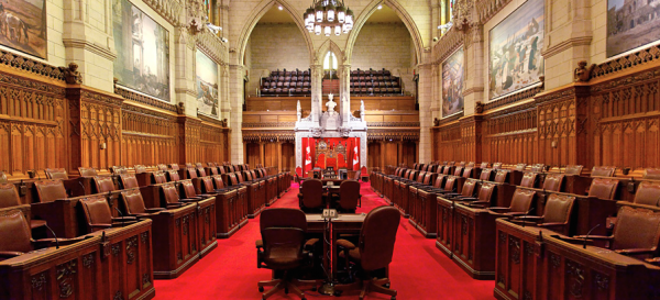 The Senate Chamber in Canada's Parliament Buildings in Ottawa.