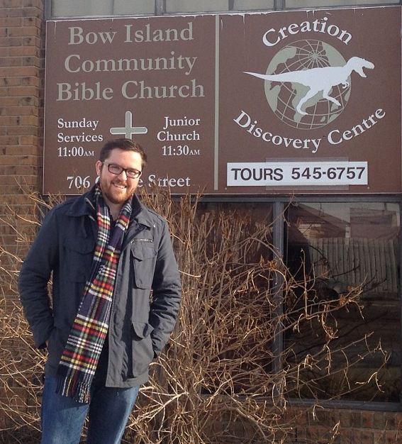The author of this blog outside the Creation Science Museum in Bow Island, Alberta.