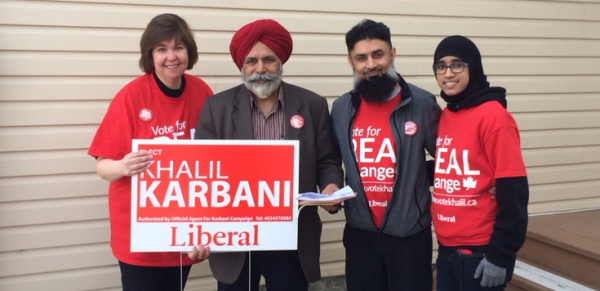 Ottawa MP Anita Vandenbeld (left), Calgary MP Darshan Kang (second from the left) and Liberal candidate Khalil Karbani (third from the left) campaigning in the Calgary-Greenway by-election
