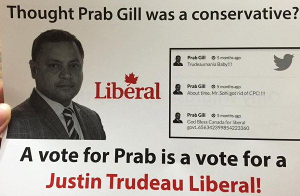 "A Wildrose Party flyer attacking PC candidate Prab Gill for being a ""Justin Trudeau Liberal."" Mr. Gill was elected on March 22, 2016."
